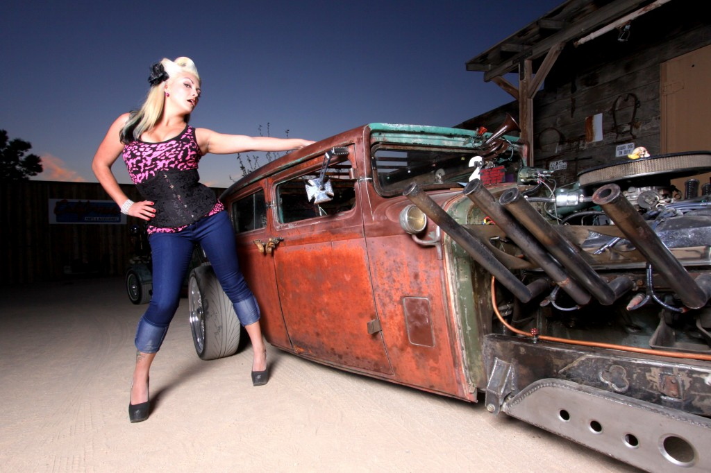 nude chick and rat rod